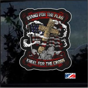 Stand for the Flag Kneel For the Cross Full Color Decal Sticker