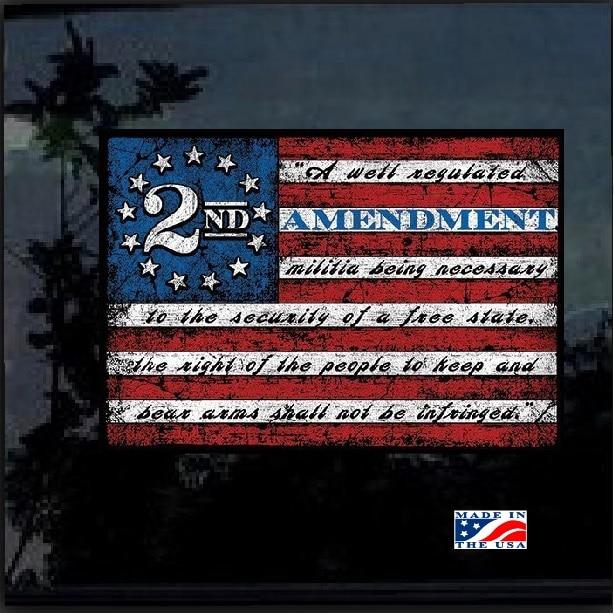 2nd Amendment Flag Full Color Decal Sticker Custom
