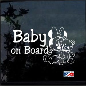 Baby on Board Minnie bear Decal sticker