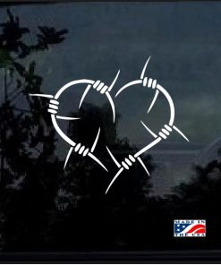 Barb Wire Heart Decal Sticker