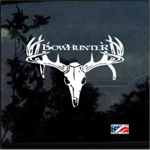 Bow hunter Buck Deer Skull Window Decal Sticker