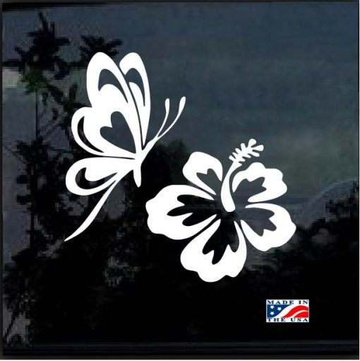 Butterfly & Hibiscus Flower Car Window Vinyl Decal Sticker