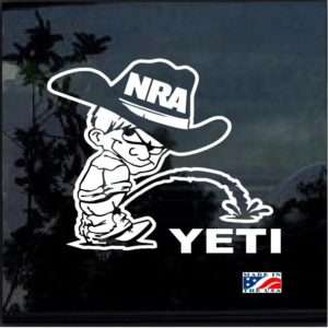 NRA Calvin Cowboy Pee On Your Yeti Decal Sticker