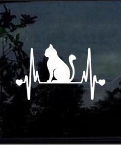 Cat Kitty Heartbeat Love Window Decal Sticker