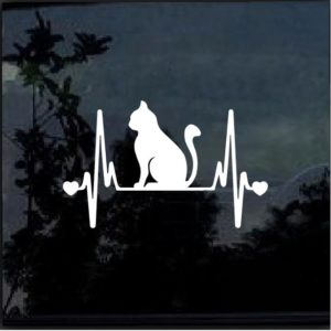 Cat Kitty Heartbeat Love Window Decal Sticker