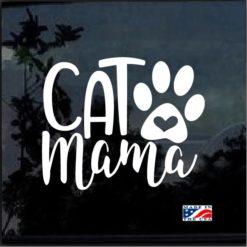 Cat Mama Heart Paw Decal Sticker