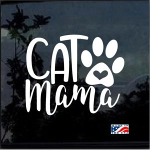 Cat Mama Heart Paw Decal Sticker