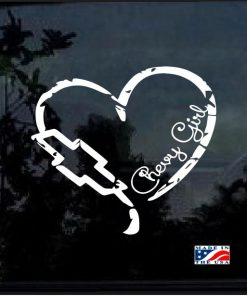 Chevy Girl Heart Distressed Decal Sticker