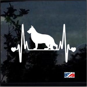 German Shepherd Heartbeat Love Decal Sticker