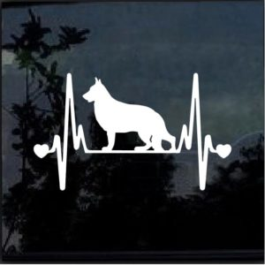 German Shepherd Heartbeat Love Decal Sticker