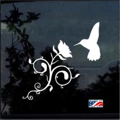 Hummingbird and Rose Flower Decal Sticker