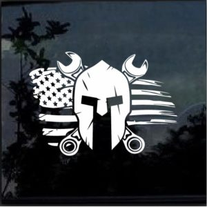 Mechanic Spartan Helmet Flag Decal Sticker