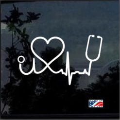 Nurse Heartbeat Stethoscope and Heart Decal Sticker