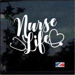 Nurse Decal - Nurse Life Stethoscope Heart Sticker