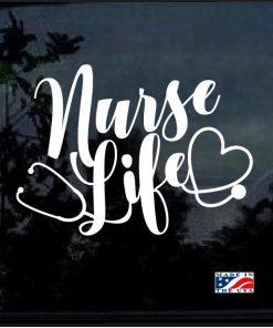 Nurse Life Stethoscope Heart Window Decal Sticker