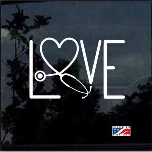 Nurse Love Stethoscope Window Decal Sticker