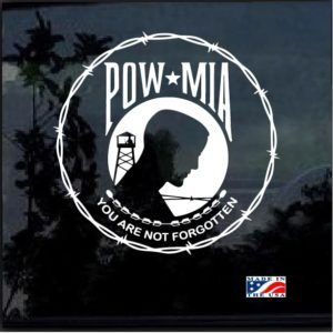 POW MIA Round Barbed Wire Decal Sticker