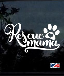 Rescue Mama Heart Paw Decal Sticker