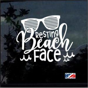 Resting Beach Face Window Decal Sticker