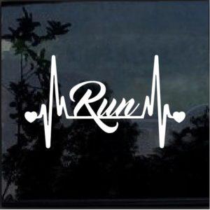 Running Run Heartbeat Window Decal Sticker