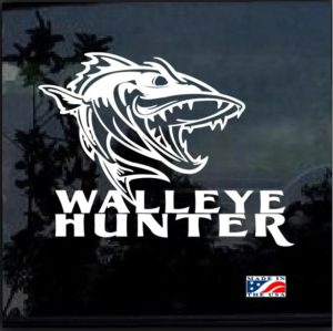 Walleye Hunter Fishing Window Decal Sticker