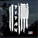 Nissan Titan Weathered American Flag Truck Decal Sticker