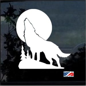 Wolf Howling Moon Silhouette Window Decal Sticker