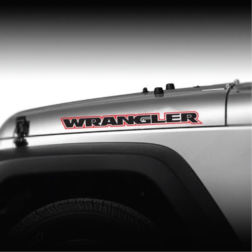 Jeep Wrangler 2 color Outlined Hood Decal Sticker Set of 2
