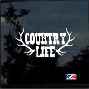 Country Life Antlers Window Decal Sticker
