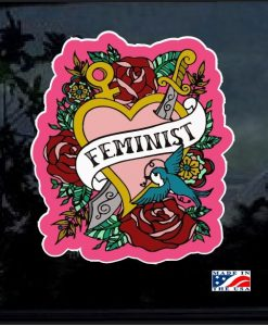 Feminist Heart and Roses Full Color Decal Sticker