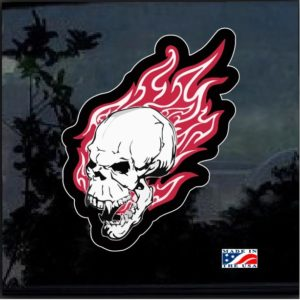 Flaming Skull Full Color Decal Sticker