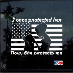 Protected Her Once Military Mom Window Decal Sticker