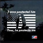 Protected Him Once Mom Military Window Decal Stickers