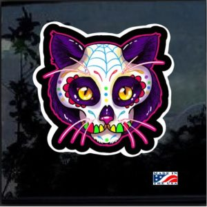 Sugar Skull Cat Day of the Dead Full Color Decal Sticker