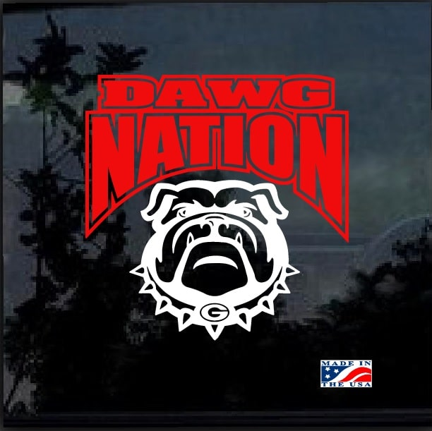 Uga Dawg Nation 2 Color Window Decal Sticker Custom