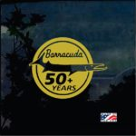 Barracuda 50 plus years 3-1/2 round Window Decal Sticker