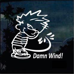 Calvin Peeing Damn Wind Decal Sticker