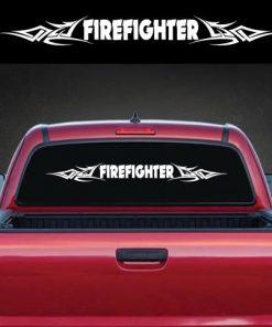 Firefighter Tribal Rear Window Decal Sticker