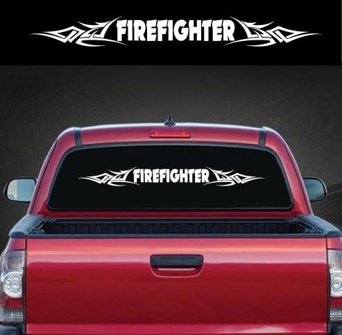 Fireman Firefighter Tribal Window Windshield Banner Decal