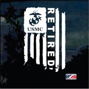 USMC Military Weathered Flag Retired Decal Sticker