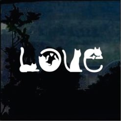 Love Cats Silhouette Window Decal Sticker