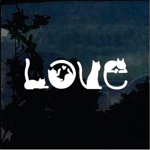 Love Cats Silhouette Window Decal Sticker