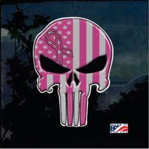 Punisher Breast Cancer Full Color Window Decal