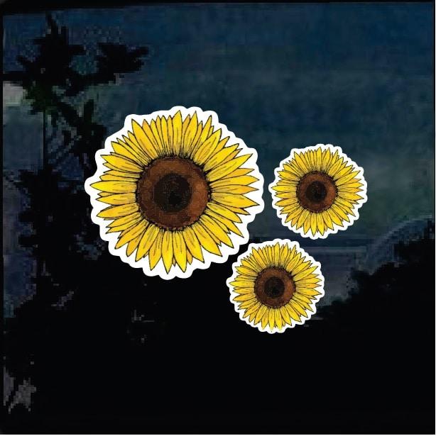 Sunflower Decal Sticker Full Color Set Of 3 Custom