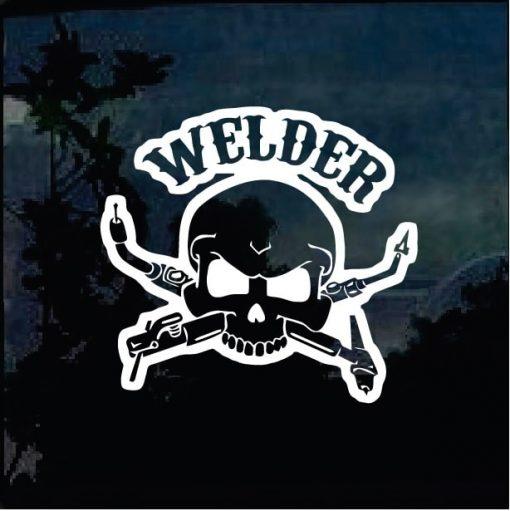 Welder skull Torches window decal sticker a2
