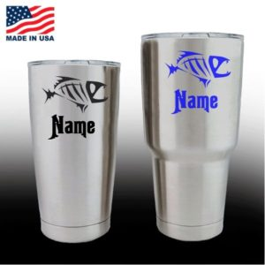 Yeti Decals - Cup Stickers - Bone Fish with Name