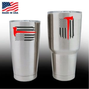 Yeti Decals - Cup Stickers - Fireman Red Axe Flag