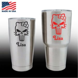 Yeti Decals - Cup Stickers - Hello Kitty Punisher with name