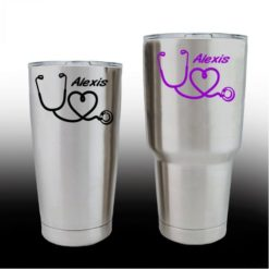 Yeti Decals - Cup Stickers - Nurse Heart Stethoscope with name