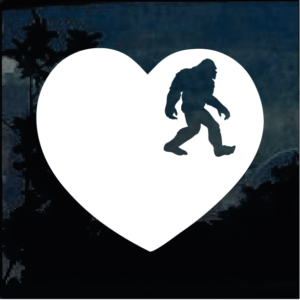 Bigfoot stickers - Love Bigfoot Heart Decal